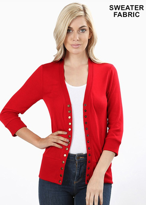 Snap Front 3/4 Sleeve Cardigan - Red