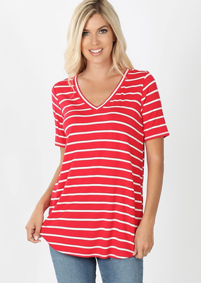 Red Stripe V-Neck Tee