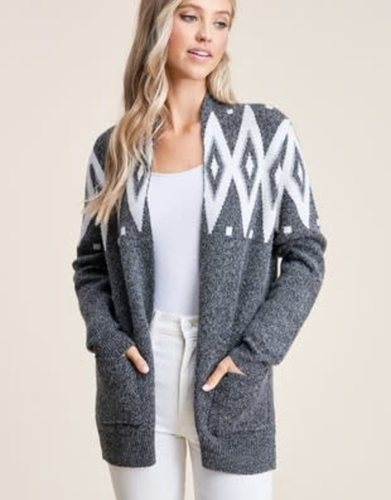 Charcoal Fair Isle Cardigan