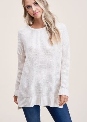 Cream Knit Crew Neck Sweater