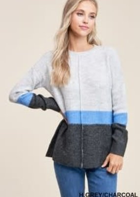 Grey Blue Color Block Sweater