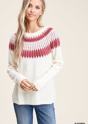 Ivory Crew Neck Fair Isle Sweater