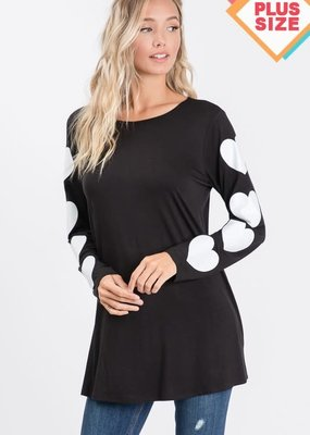 Black Heart Sleeve Top