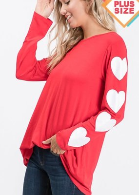 Red Heart Sleeve Top