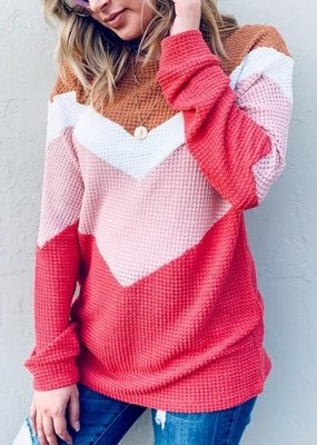 Coral Chevron Waffle Knit Top