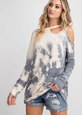 Ivory Grey Cold Shoulder Sweater