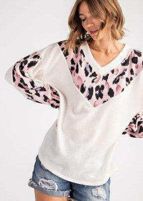 Blush Leopard Chevron Sweater