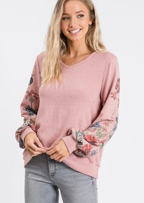 Mauve Floral Sleeve Knit Top (S-3XL)