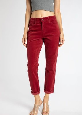 KanCan Wine Soft Corduroy Relaxed Crops