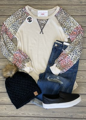 Leopard Sleeve Ivory Ribbed Top