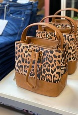 Mini Leopard Draw String Bucket Bag