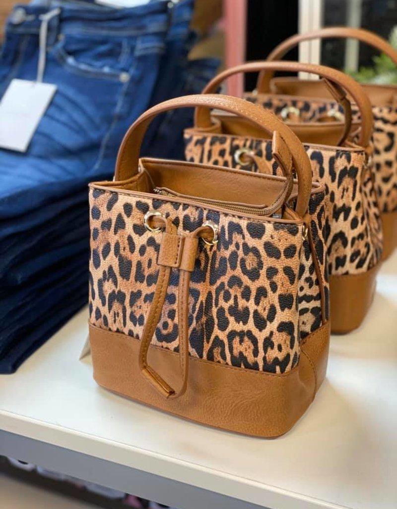 Mini Leopard Draw String Bucket Bag