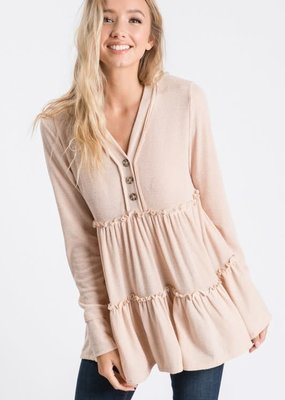 Hailey & Co Beige Babydoll Top (S-L)