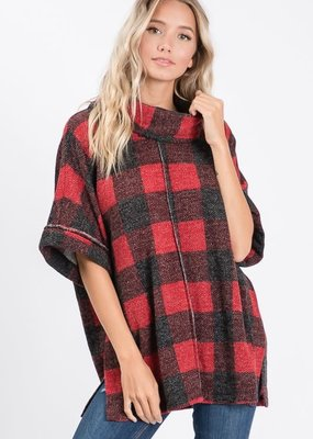 Hailey & Co Buffalo Plaid Cowl Neck Top (S-L)