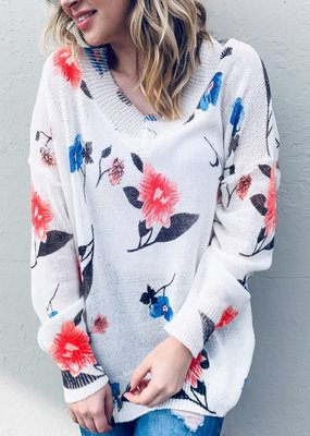 And the Why Floral Printed Spring Pullover Loose Fit Sweater