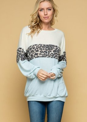 Light Blue Leopard Long Sleeve Top (S-3X)