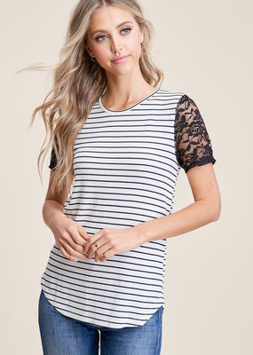 Ivory Black Stripe Lace Sleeve Tee (S)