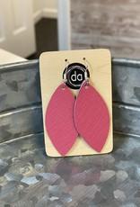 Deer Addie Deer Addie Pink Leaf Leather Earrings