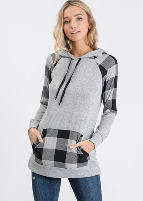 Hailey & Co Brushed Buffalo Printed Hoodie