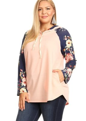 Chris & Carol Peach Navy Floral Hoodie (S, 2XL, 3XL)