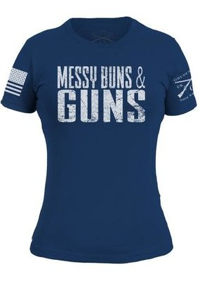 Grunt Style Messy Buns And Guns Womens Tee (Runs Small)