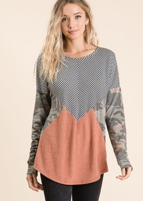 Lovely Melody Camo Colorblock Knit Top (S-XL)