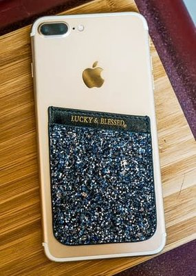 L&B Gray/Blue Glittery Phone Pocket Holder