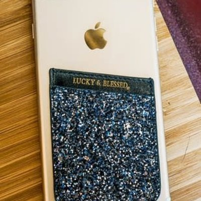 L&B Gray/Blue Glittery Phone Pocket Holder