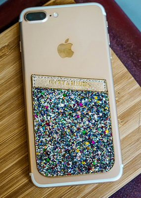 L&B Rainbow Glittery Phone Pocket Holder