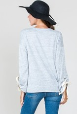 Hailey & Co Brushed Melange Sweater Tie Sleeve