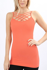Zenana Deep Coral Criss Cross Cami