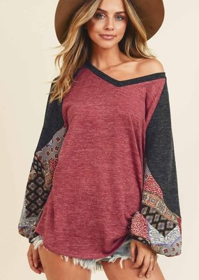 First Love Burgundy Charcoal Mohair Printed Top (XS-XL)