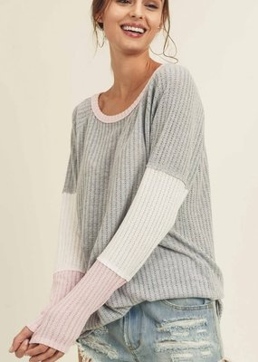 First Love Gray Pink Ribbed Lightweight Sweater (XS-XL)