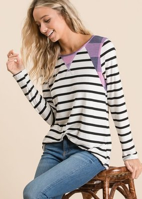 Lovely Melody Purple Plaid Stripe Top