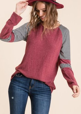 Lovely Melody Berry Stripe Raglan