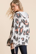 Lovely Melody French Terry Animal Print Hoodie with Drawstrings
