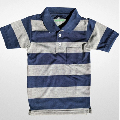 Toby Kids Boys Navy Grey Stripe Polo