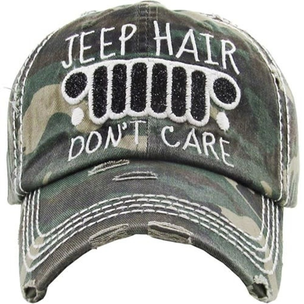 Your Fashion Wholesale Jeep Hair Don't Care Vintage Hat (Camo, Burgundy, Charcoal)