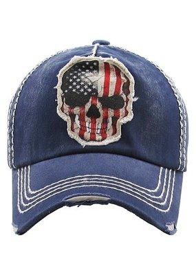 Your Fashion Wholesale Navy Flag Skull Vintage Hat