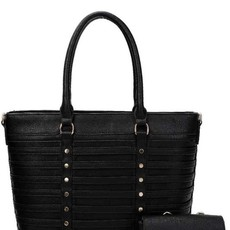 Applejuice Vegan Leather Stripe Handbag (Black Only Available)