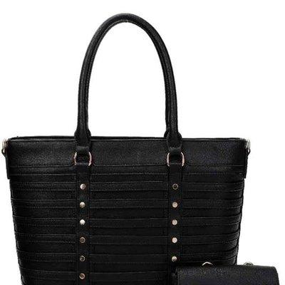 Applejuice Vegan Leather Stripe Handbag (Black Only Available)