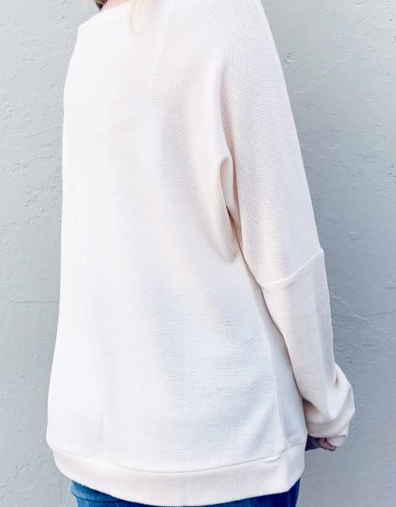 And the Why Ivory Knit Top With Wood Button