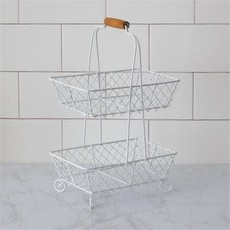 Audrey's Two Tiered White Wire Basket