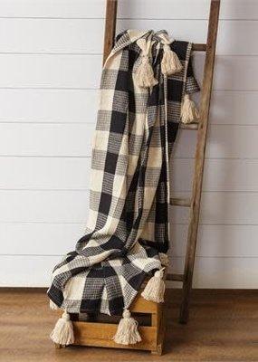 Audrey's Buffalo Check Black & Cream Blanket