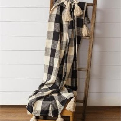 Audrey's Buffalo Check Black & Cream Blanket