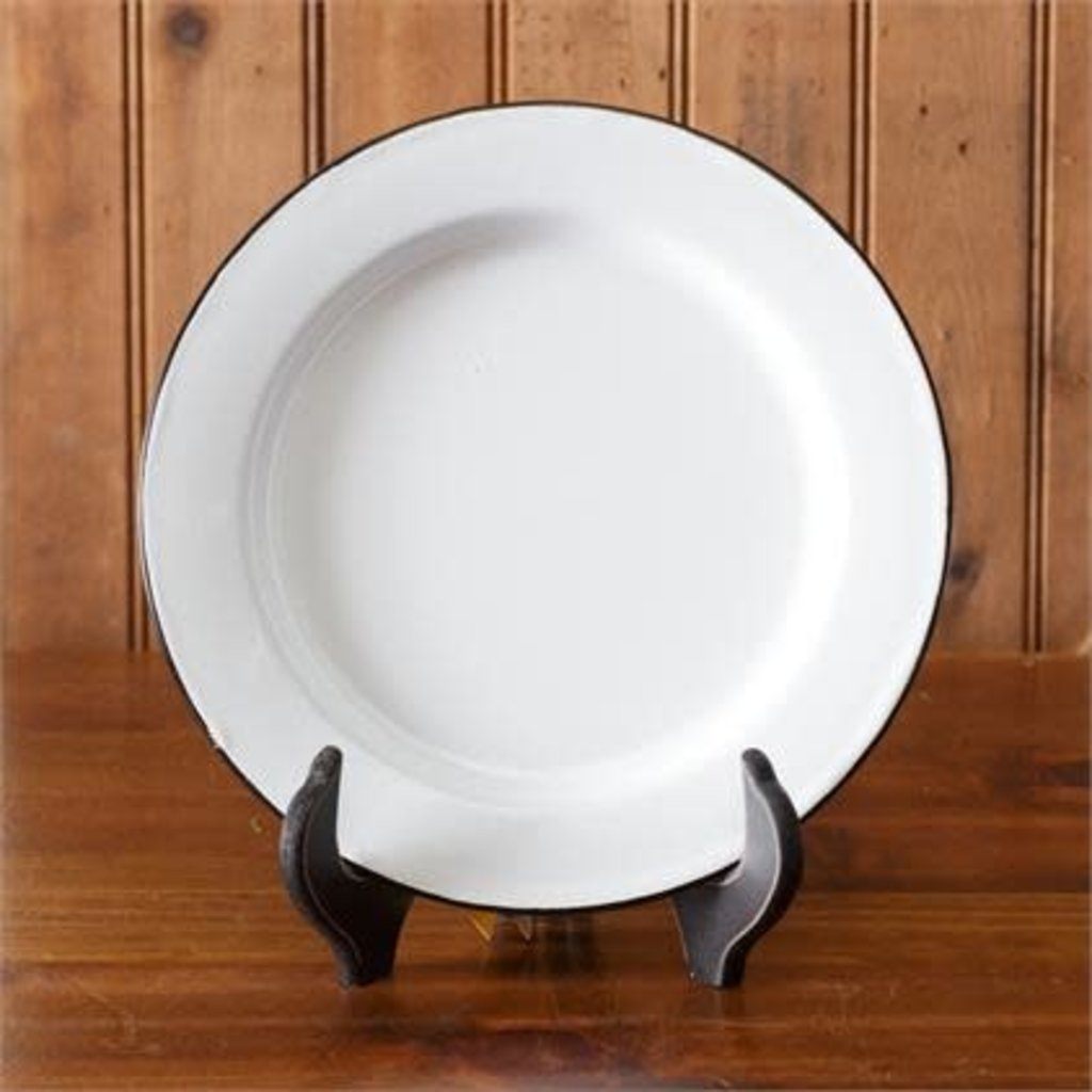"""Audrey's 10"""" White Enamelware Plate"""