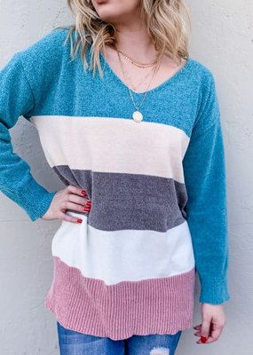 And the Why Turquoise Color Block V-Neck Sweater