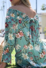 And the Why Mint Floral Off The Shoulder Top