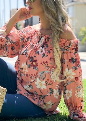 And the Why Coral Floral Off The Shoulder Top