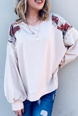 And the Why Beige Patched Shoulder Top